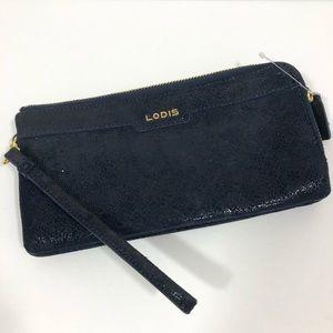 Lodis Blue Midnight Sparkle Double Zipper Wallet